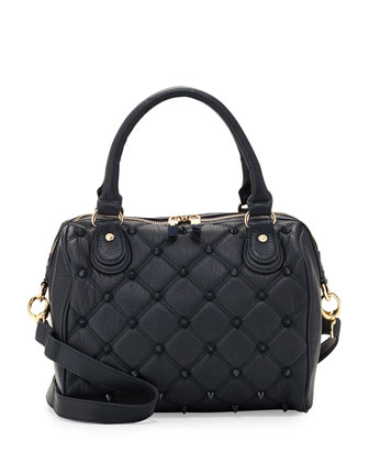 Empress Stud Quilted Faux-Leather Duffle Bag, Marine