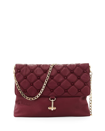 Empress Quilted Spiked Clutch Bag, Berry