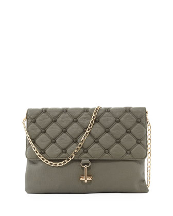 Empress Stud Quilted Faux-Leather Clutch, Dove