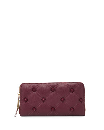 Empress Quilted Spiked Zip Wallet, Berry