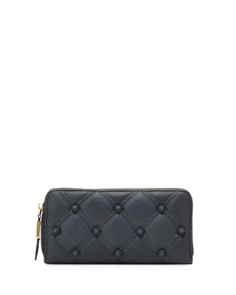 Empress Quilted Spiked Zip Wallet, Marine