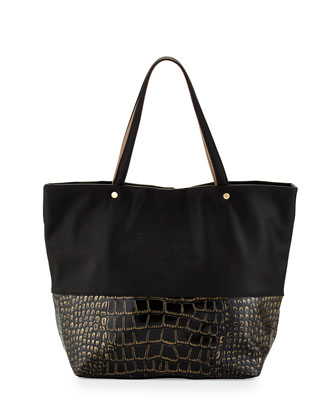 Essex Croc-Embossed Combo Tote Bag, Black