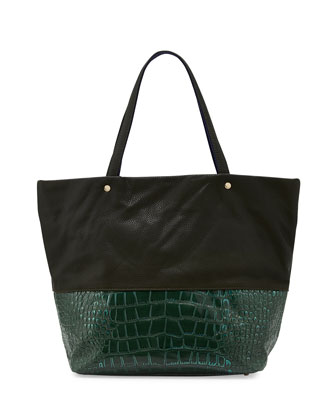 Essex Croc-Embossed Faux-Leather Tote, Hunter