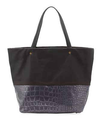 Essex Croc-Embossed Faux-Leather Tote, Plum