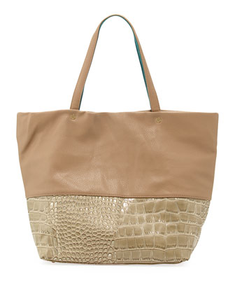 Essex Croc-Embossed Faux-Leather Tote, Sand