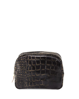 Essex Croc-Embossed Toiletry Bag, Black