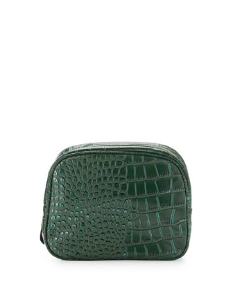 Essex Croc-Embossed Toiletry Bag, Hunter