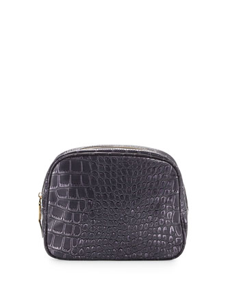 Essex Croc-Embossed Toiletry Bag, Plum