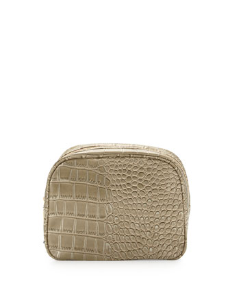Essex Croc-Embossed Toiletry Bag, Sand