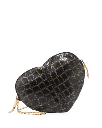 Essex Heart-Shaped Croc-Print Crossbody, Black