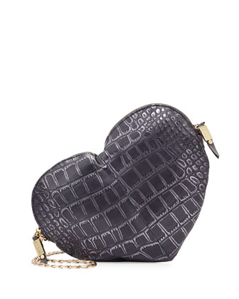 Essex Heart-Shaped Croc-Print Crossbody, Plum