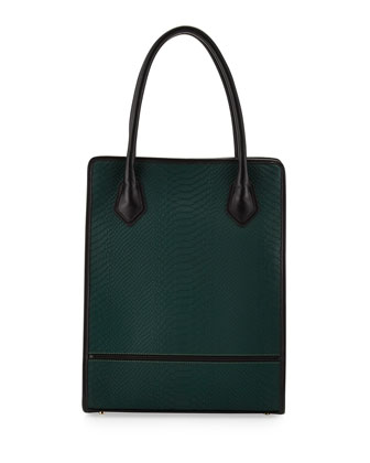 Julia Snakeskin-Embossed Leather Tote Bag, Emerald