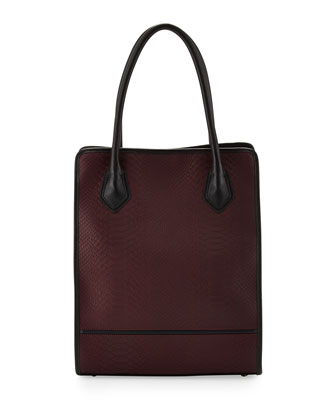 Julia Snakeskin-Embossed Leather Tote Bag, Burgundy
