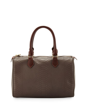 Snakeskin-Embossed Leather Satchel Bag, Taupe