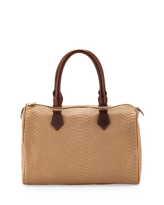 Snakeskin-Embossed Leather Satchel Bag, Sand