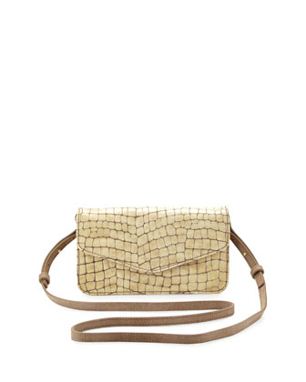 Snakeskin-Embossed Leather Cross-Body Messenger Bag, Pearl