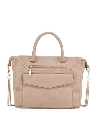 Boxy Pebbled Faux Leather Satchel Bag, Taupe
