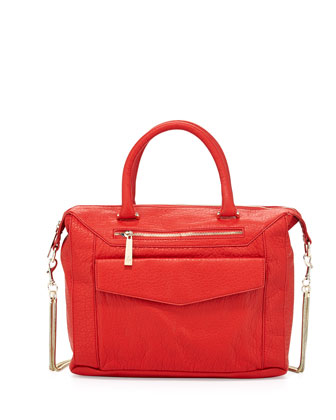 Boxy Pebbled Faux Leather Satchel Bag, Coral
