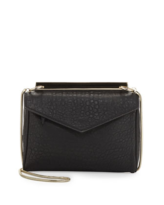 Golden Plated Envelope Crossbody Bag, Black