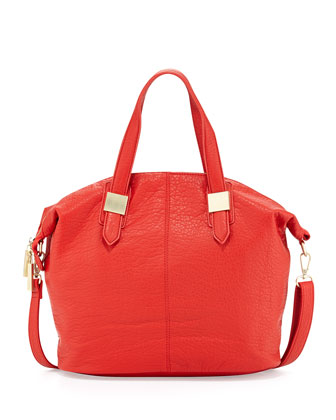 Convertible Faux Leather Satchel Bag, Coral