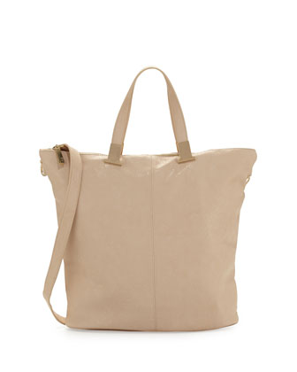 Corner Weathered Faux Leather Tote Bag, Nude