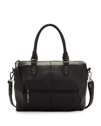 Big Bang Faux Leather Satchel Bag, Black