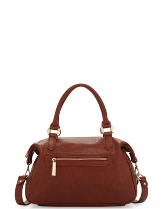City Lights Weathered Satchel Bag, Cognac