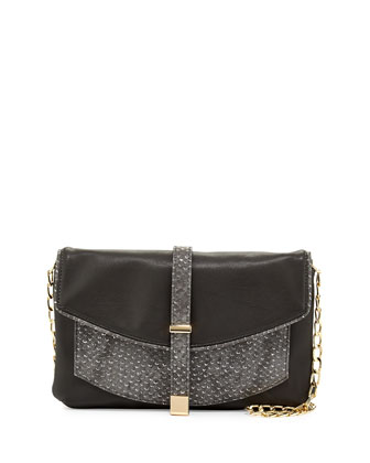 Metallic-Snake Faux-Leather Crossbody Clutch, Charcoal