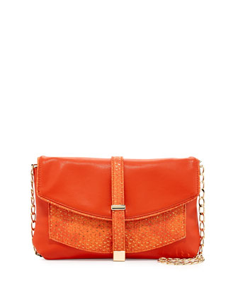 Metallic-Snake Faux-Leather Crossbody Clutch, Orange