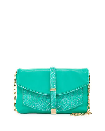 Metallic-Snake Faux-Leather Crossbody Clutch, Turquoise