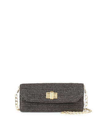 Raffia Faux-Leather Contrast Crossbody Clutch, Black