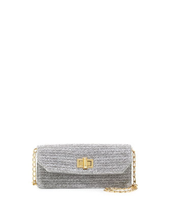 Raffia Faux-Leather Contrast Crossbody Clutch, Gray