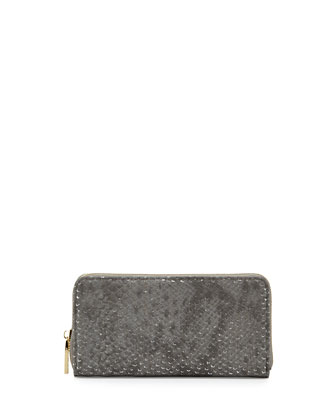 Textured Shimmer Zip Wallet, Charcoal