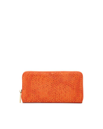 Textured Shimmer Zip Wallet, Orange