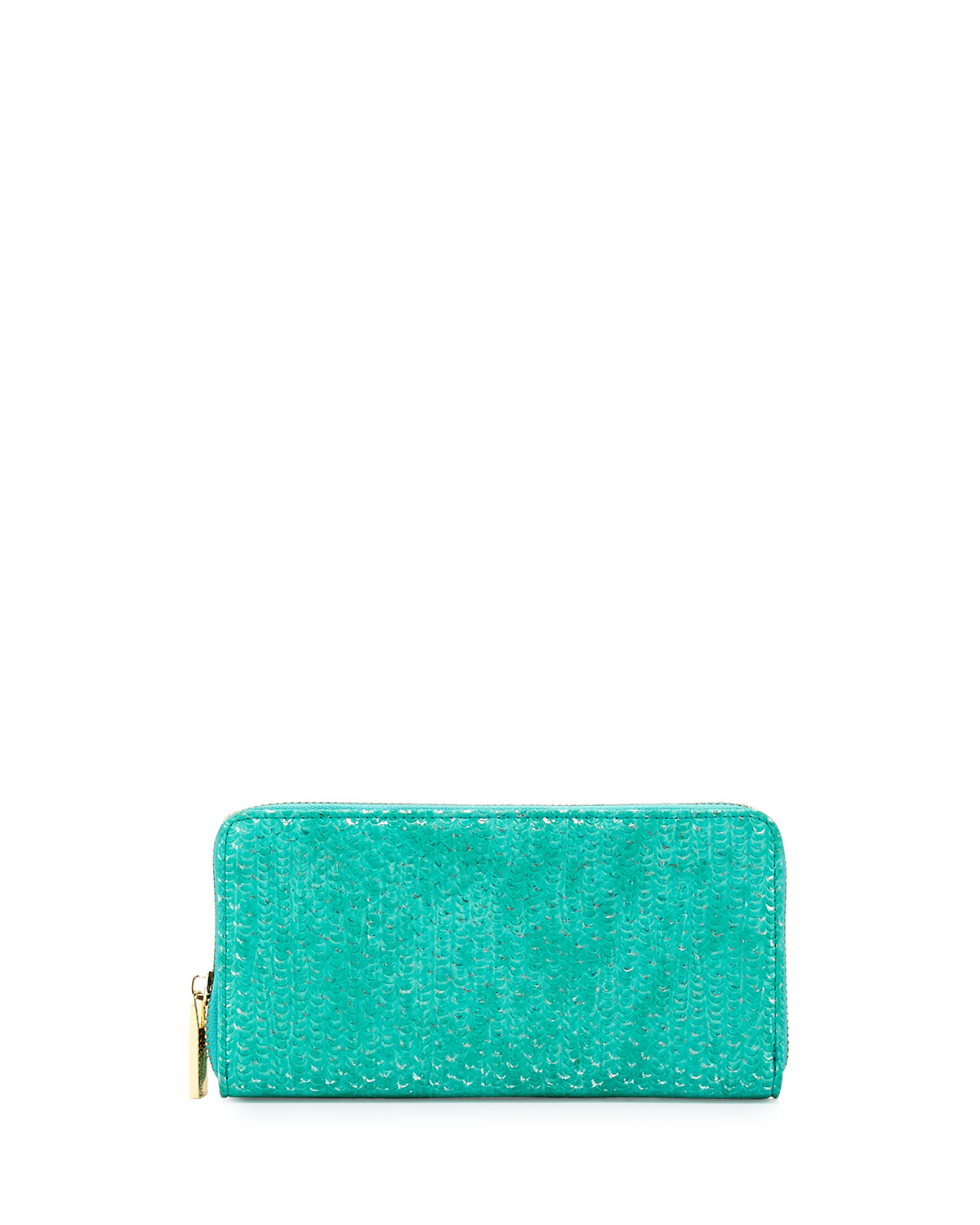 Textured Shimmer Zip Wallet, Turquoise   Deux Lux