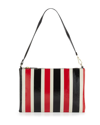 Avignon Striped Vinyl Wristlet Wallet, Red/Navy