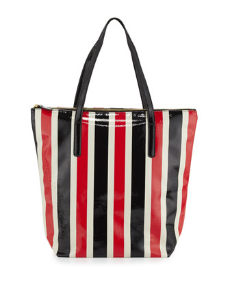 Avignon Striped Vinyl Tote Bag, Red/Navy