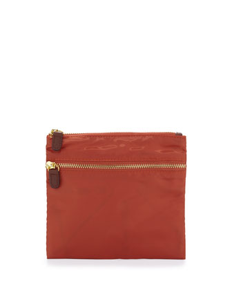 Au Revoir Nylon Flat Cosmetic Pouch, Orange