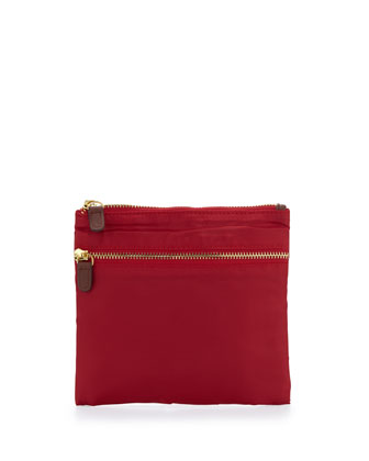 Au Revoir Nylon Flat Cosmetic Pouch, Red
