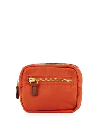 Au Revoir Nylon Mini-Cosmetic Pouch, Orange