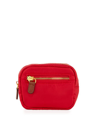 Au Revoir Nylon Mini-Cosmetic Pouch, Red