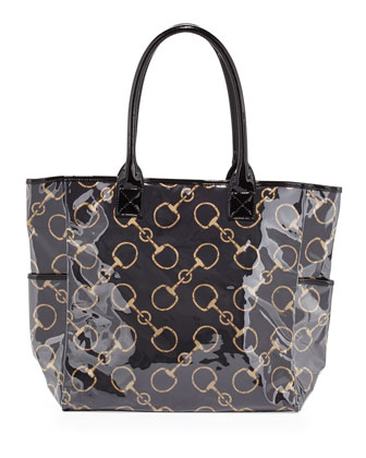 Derby Equestrian-Print Vinyl Shopper, Black/Tan