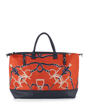 Steeplechase Equestrian-Print Vinyl Tote, Navy/Green