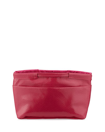 Amazon Snake-Print Faux-Leather Pouch Bag, Pink