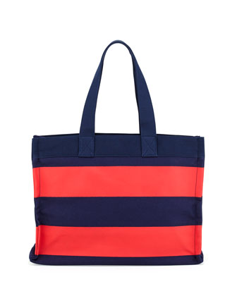 Striped Canvas Tote Bag, Navy/Red