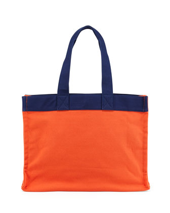 Village Canvas Tote Bag, Orange/Navy