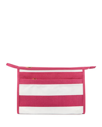 Striped Canvas Cosmetics Case, Pink/White