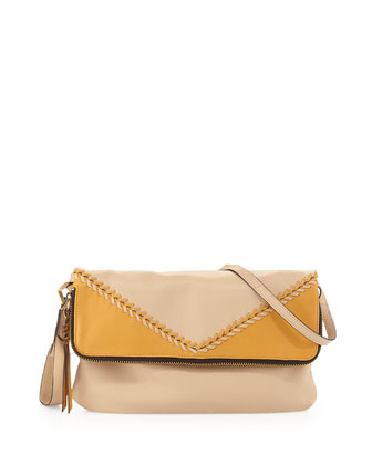 Alexa Top-Stitch Leather Foldover Bag, Sand/Multi