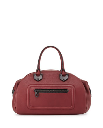 Belinda Leather Bowler Satchel, Cabernet