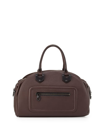 Belinda Leather Bowler Satchel, Coffee